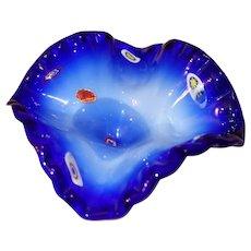 Blue Murano Glass Lavorazione Millefiore Ruffled Edge Pedestal Bowl