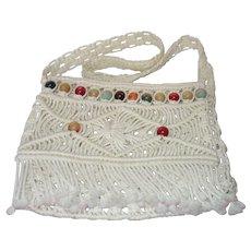 Vintage Boho Off White Macrame Cord Shoulder/ Cross Body Bag