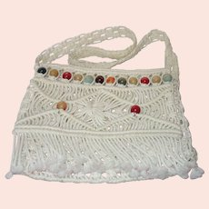 Vintage Boho Off White Macrame Cord Shoulder/ Cross Body Bag