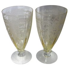 "Pair of Fostoria Topaz Yellow ""June"" Etched Parfait Glasses"