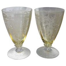 "Pair of Fostoria Topaz Yellow ""June"" Etched Glass Water Tumblers"
