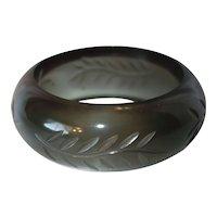Vintage Carved Smoky Lucite Bangle Bracelet