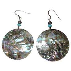 Vintage Abalone Shell Dangle Earrings