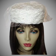 Vintage White Straw Pillbox Hat by Play Topper