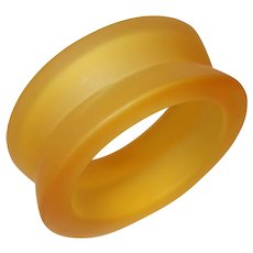 Vintage Frosted Concave Gold Tone Lucite Bangle Bracelet