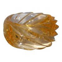 Vintage HUGE Spiral Transparent Light Orange Lucite Bangle Bracelet