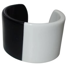 Extra WIDE Black and White Lucite Cuff Bracelet