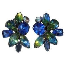 Vintage Kramer Blue and Green Rhinestone Clip Earrings