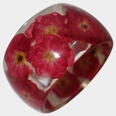 Extra Wide Resin Bangle Bracelet with Encased Flowers