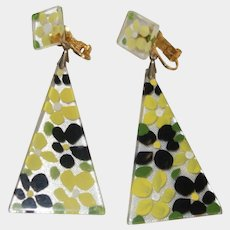 Painted Floral Lucite Dangle Clip-On Earrings