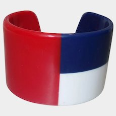 Vintage Red White and Blue WIDE Laminated Lucite Cuff Bracelet