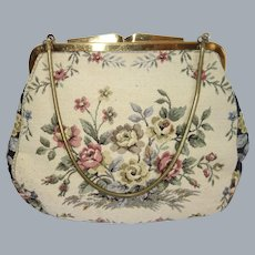 Vintage Floral Tapestry Purse Made in Western Germany