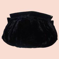 Vintage Black Velvet Clutch Purse Handwarmer