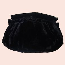 Vintage Black Velvet Clutch Purse Handwarmer
