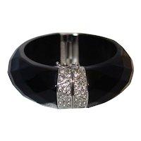 Vintage Ann Taylor Black Faceted Lucite Hinge Bracelet