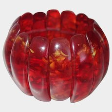 Extra WIDE Red Confetti Lucite Stretch Bracelet