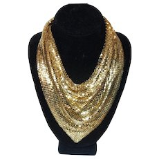 Whiting and Davis Gold Tone Metal Mesh Bib Necklace