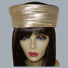 Vintage Black Wool and Gold Lame`Pillbox Hat