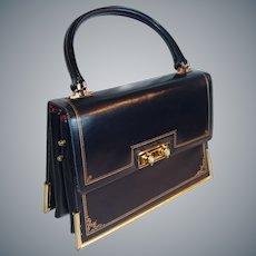 Dark Blue Italian Leather Expansion Handbag