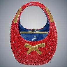 Vintage Italian Red Wicker Purse by Koret