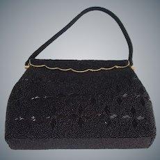 Vintage Black Glass Beaded Evening Bag