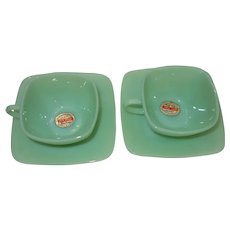 Vintage Pair of Fire King Jade-ite Charm Cups and Saucers Unused with Original Stickers