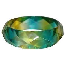 Yellow and Green Faceted Resin Bangle Bracelet