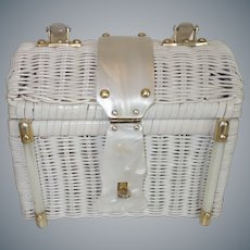 Vintage White Wicker and Marbled White Lucite Purse