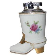Hand Painted Porcelain Boot Cigarette Lighter Made in Japan