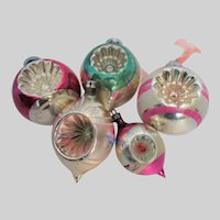 Five  Shiny Brite and Poland Double Indent Glass Christmas Ornaments