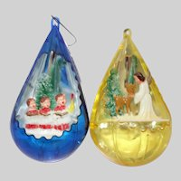 Two Vintage Jewel Brite Plastic Diorama Christmas Ornaments