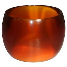 Extra WIDE Transparent Brown Lucite Bangle Bracelet