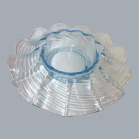 Vintage Wavy Ribbed Light Blue Depression Glass Console Bowl
