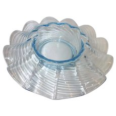 Vintage Wavy Ribbed Light Blue Depression Glass Console Bowl