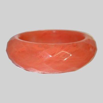 Vintage Faceted Peach Lucite Bangle Bracelet
