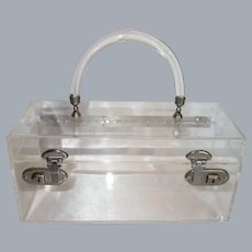 Vintage Clear Lucite Lunchbox Style Purse or Makeup Case