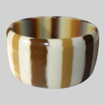 Extra Wide Opaque Striped Lucite Bangle Bracelet