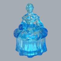 Mosser Blue Glass Colonial Lady Trinket Box Powder Jar
