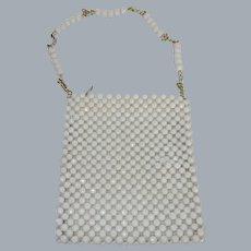 Vintage 1960's White Plastic Beaded Shoulder Purse