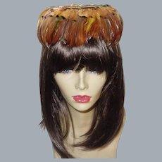 Vintage Brown Feather Hat