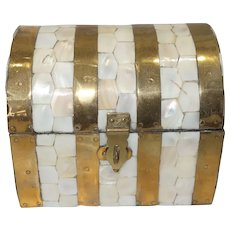Brass and Mother of Pearl Treasure Chest Jewelry Box