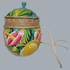 Vintage Hand Painted Coconut Shell Purse