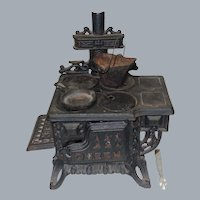 """Vintage Cast Iron """"Queen"""" Miniature Stove with Accessories"""
