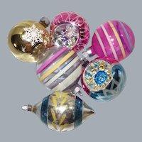 Six Vintage USA and Poland Glass Christmas Ornaments