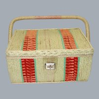 Vintage 1960's Large Woven Sewing Box