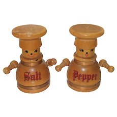 Vintage Wooden Mr. and Mrs. Baker Salt and Pepper Shakers