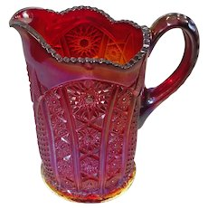 Vintage Iridescent Sunset Carnival Glass Pitcher by Indiana Glass Co.