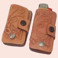Pair of Vintage Tooled Leather Key/Mini Bic Lighter Holders