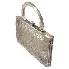 Vintage Clear Lucite with Rhinestones Convertible Clutch Purse
