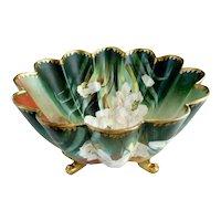 Antique art porcelain bowl hand painted white magnolias PT Bavaria